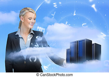 femme affaires, regarder, données, serveurs