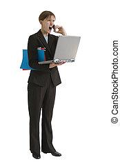 femme affaires, série, -, soumis contrainte dehors