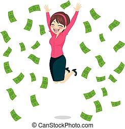 femme affaires, sauter, argent
