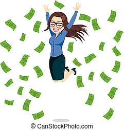 femme affaires, sauter, heureux, argent