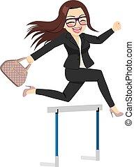 femme affaires, sauter, obstacle