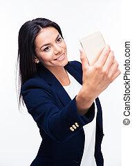 femme affaires, selfie, heureux, confection, photo
