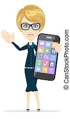 femme affaires, sien, smartphone., tenant main