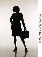 femme affaires, silhouette.