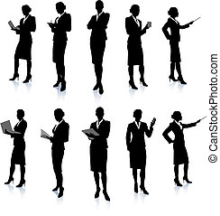 femme affaires, silhouette, collection