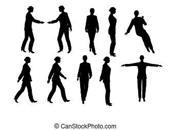 femme affaires, silhouette, jpg, version