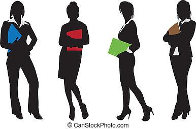 femme affaires, silhouettes, boxe