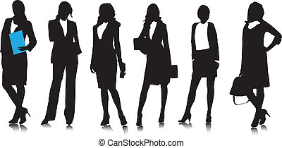 femme affaires, silhouettes