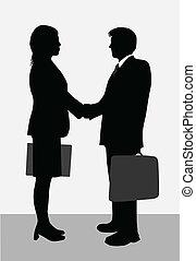 femme affaires, silhouettes, homme affaires
