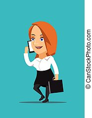 femme affaires, smartphone, conversation