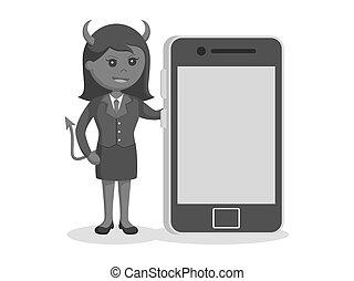 femme affaires, smartphone, diable, grand