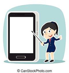 femme affaires, smartphone, présentation, vide