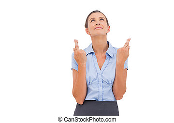 femme affaires, souhaiter, doigts ont traversé