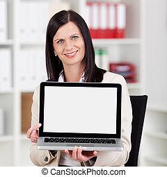 femme affaires, sourire, afficher, ordinateur portable, elle