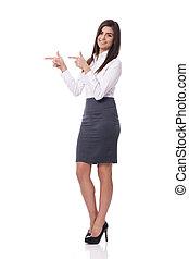 femme affaires, sourire, copie, pointage, espace