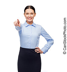 femme affaires, sourire, doigt indique, vous