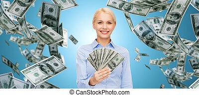 femme affaires, sourire, dollar, espèces, argent
