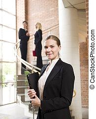 femme affaires, sourire