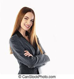 femme affaires, sourire, jeune, portrait