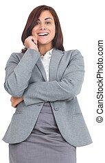 femme affaires, sourire, pensif