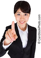 femme affaires, sourire, pointage