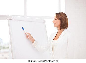 femme affaires, sourire, pointage, flipchart