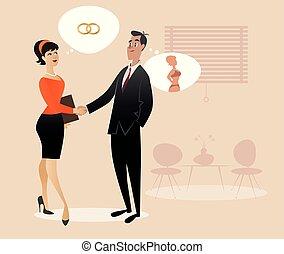 femme affaires, style., characters., retro, homme affaires, secousse, dessin animé, hands.