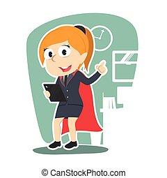femme affaires, super, tenue, tablette