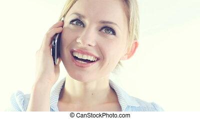 femme affaires, téléphone