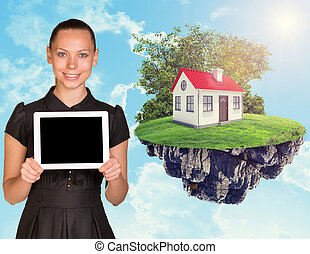 femme affaires, tablette, maison