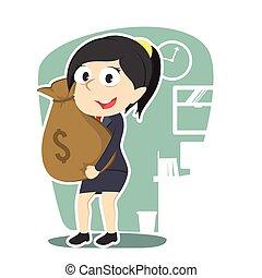 femme affaires, tenue, sac, argent