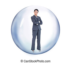 femme affaires tient, à, a, bulle