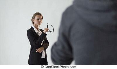 femme affaires, tir, intelligent