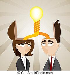 femme affaires, tordu, idée, ampoule, homme affaires, dessin animé