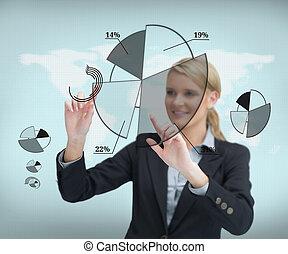 femme affaires, toucher, écran