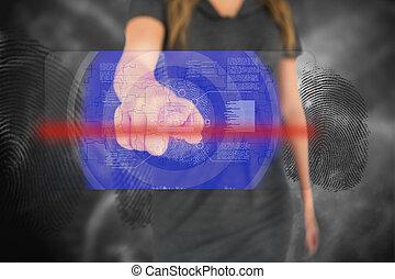 femme affaires, toucher, empreinte doigt, interface,...