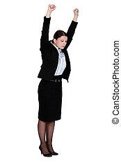 femme affaires, travail, étirage