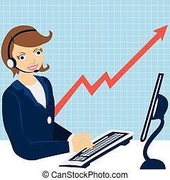 femme affaires, travail ordinateur
