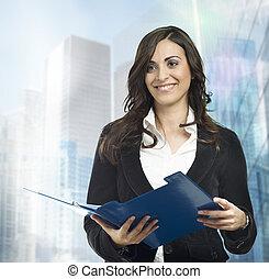 femme affaires, travail