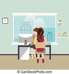 femme affaires, travailler, elle, bureau, desk.