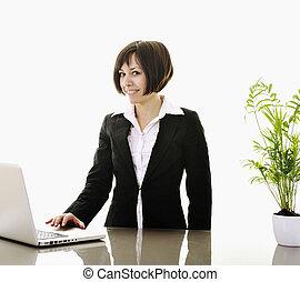 femme affaires, travailler, ordinateur portable