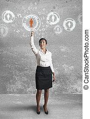 femme affaires, travaux, réseau, social