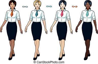 femme affaires, usage formel, bureau, élégant