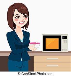 femme affaires, utilisation, bureau, micro ondes, cuisine