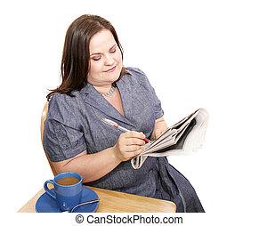 femme affaires, -, vérification, les, marchés