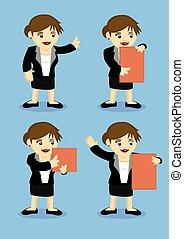 femme affaires, vecteur, dessin animé, illustration, heureux