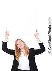 femme affaires, vide, haut, tenue, signe