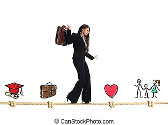 femme affaires, vie, étapes