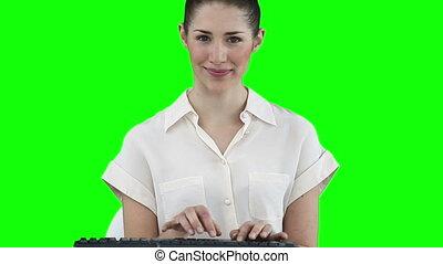 femme affaires, virtuel, fonctionnement, clavier