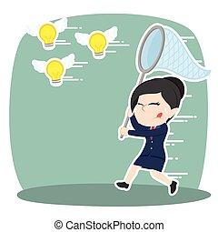 femme affaires, voler, idées, asiatique, prise, essayer